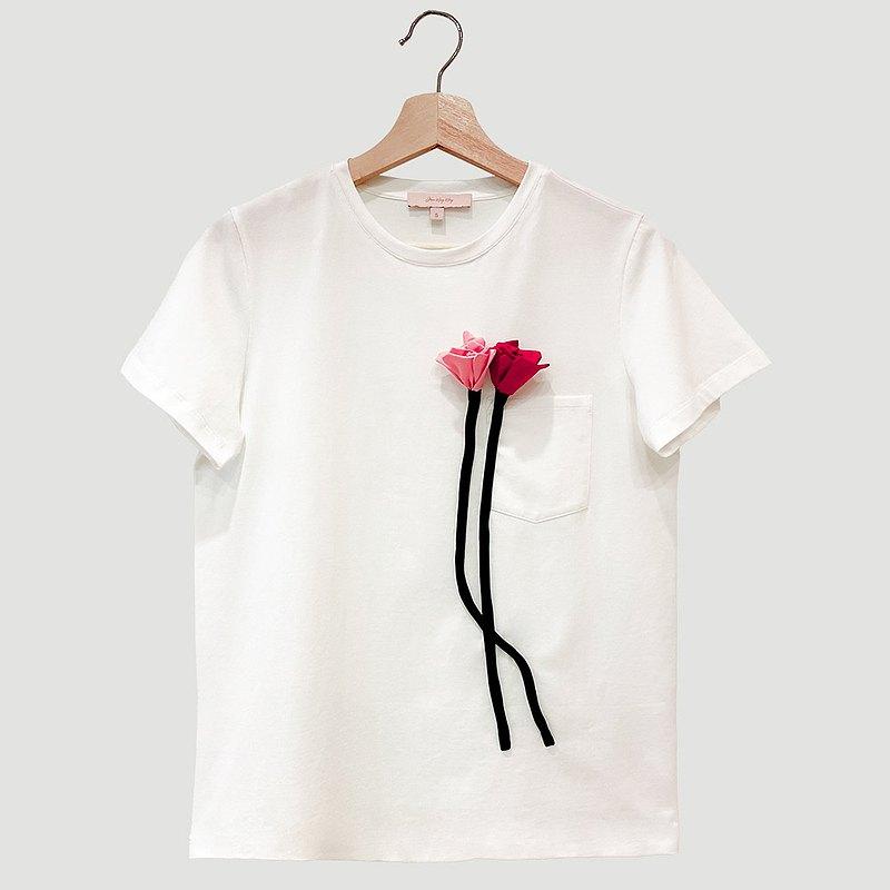 Sugar Lily紅粉立體桔梗圓領T-Shirt