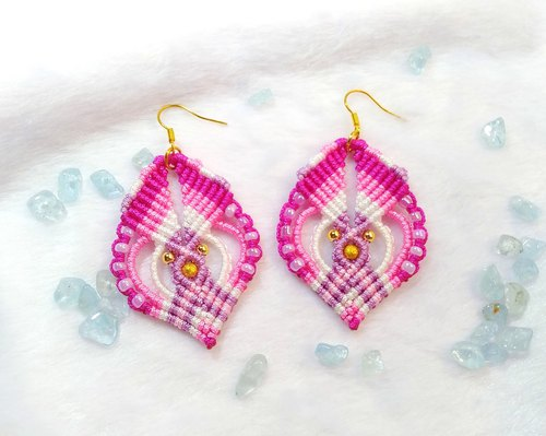 E014-芊 线 line beaded hand-woven earrings