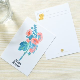 Nature Collection-alcea rosea postcard / buy 3 get 1