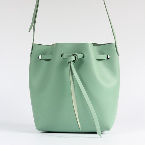 【Genchuan hand-made】 DIY sets of minimalist small bucket bag leather hand to do a simple seam series (pieces with punch) PKIT BS003 limited special color small fresh lake water green