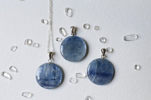 Neptune - round blue crystal sterling silver chain with Britain TOWN TALK wipe silver cloth and storage bag