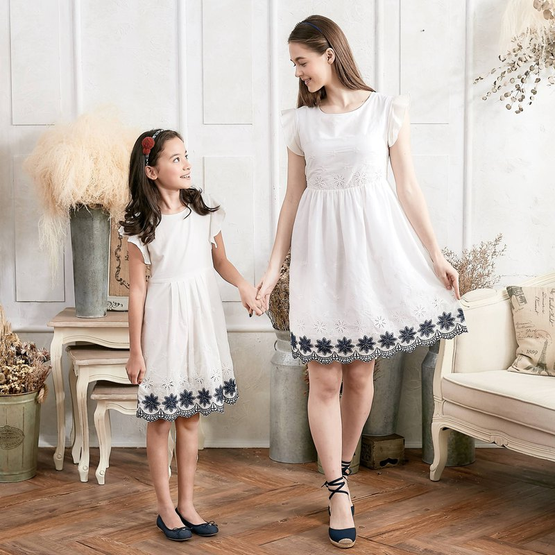 (Mommy & Me) Floral Embroidered Fit & Flare Dress (set of 2)