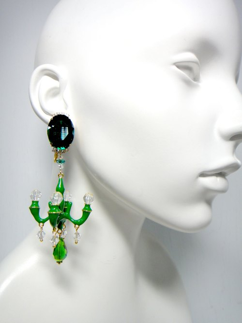 TIMBEE LO giant crystal chandelier earrings large luxury models with evening dress wedding dress