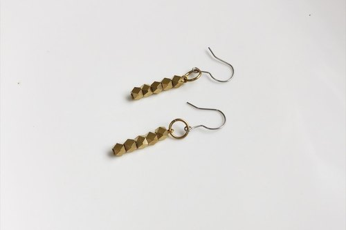 Gold chocolate brick shape brass earrings