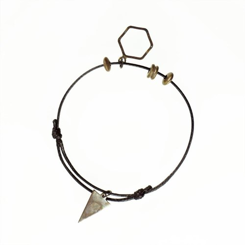 T'asam He Mountain Geometric Handmade Retro Brass Strap Stacked Handle Bracelet