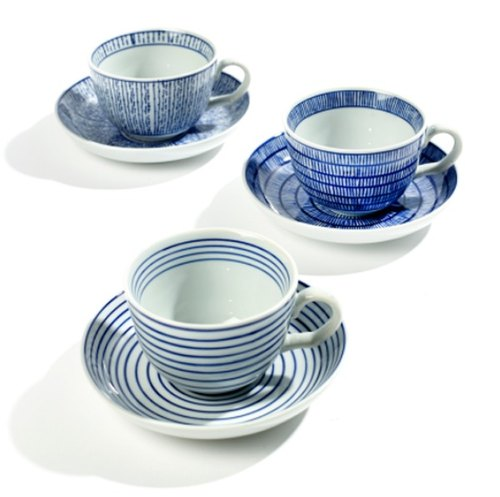 【Belgium SERAX】 Feeling hand-painted blue and white glazed afternoon cup plate group