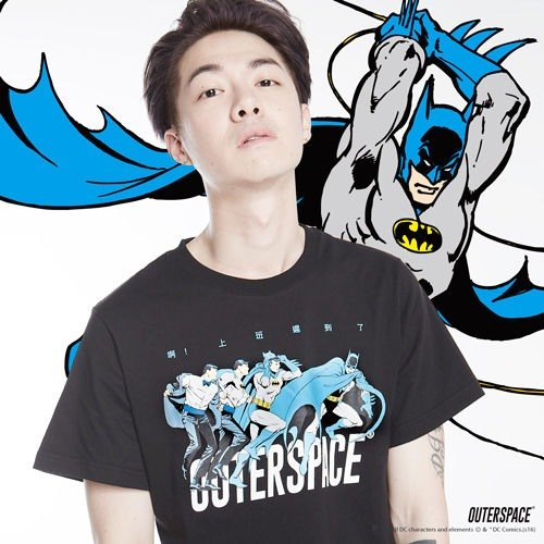 OUTER SPACE X DC Justice League - Batman to work late T (Taiwan limited) (Size: S ~ XXL)
