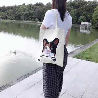 Cat canvas bag shoulder bag (rice white)