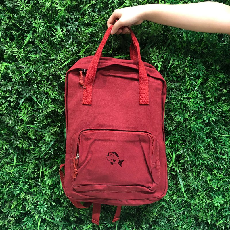 Fish fish swim in the water - red 吱吱 canvas hard back backpack
