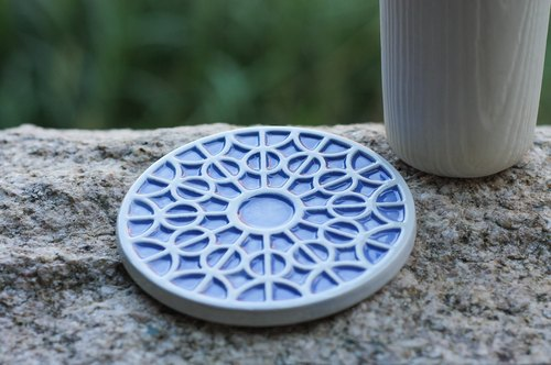 decoramics coasters -Chartres Cathedral Rose window grilles Blue - the only single product