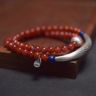 Chinamlian Bracelet VISHI Original Natural Flame South Red Agate Sterling Silver 2 Circle 54 Bracelets Female