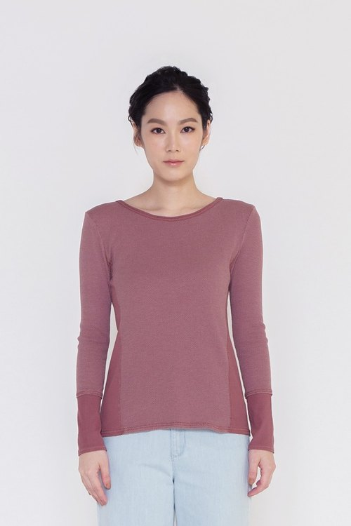 I'm really comfortable stitching long-sleeved knit shirt Free The Soul Knit Wear Purple lotus