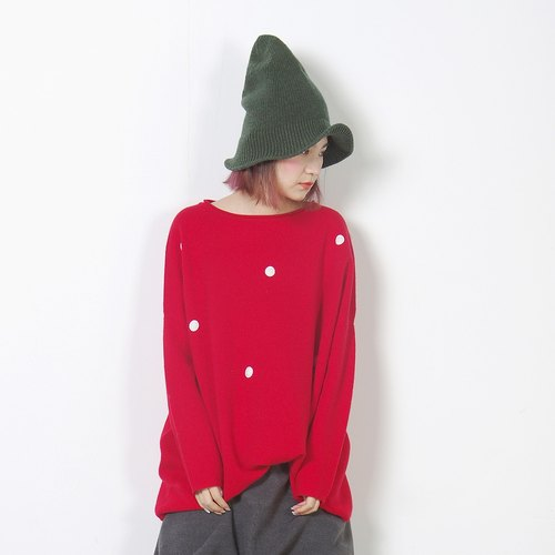 Silky red snow point long paragraph cardigan - imakokoni