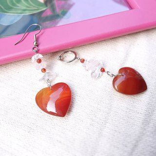 Rose red heart asymmetry drop gemstone earrings
