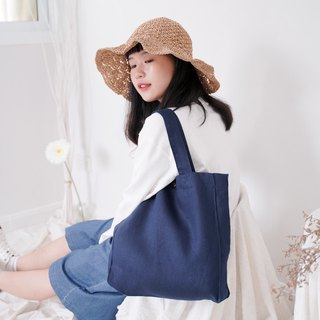 Casual Linen Tote Bag (Navi Blue)