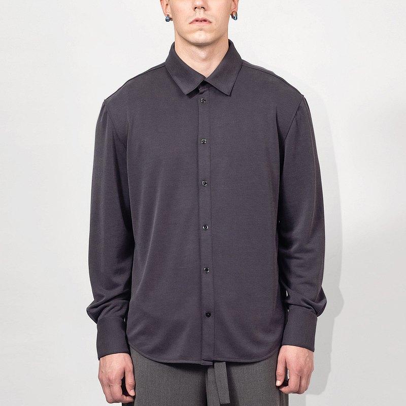 深灰色彈性休閒襯衫