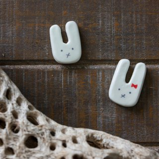 Hand Made Light Clay Mini Bunny Brooch Pins