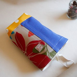 canvas tissue box cover, Hanging Tissue Box, housewarming gift, blue canvas, red