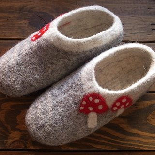 Mushroom Felted Shoes / Wool Slippers