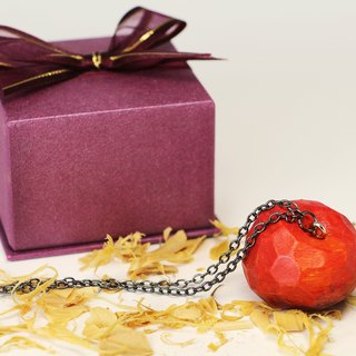 Cute wooden round apple necklace [bow gift box]--woodcut--handmade - hand made (can pick color)