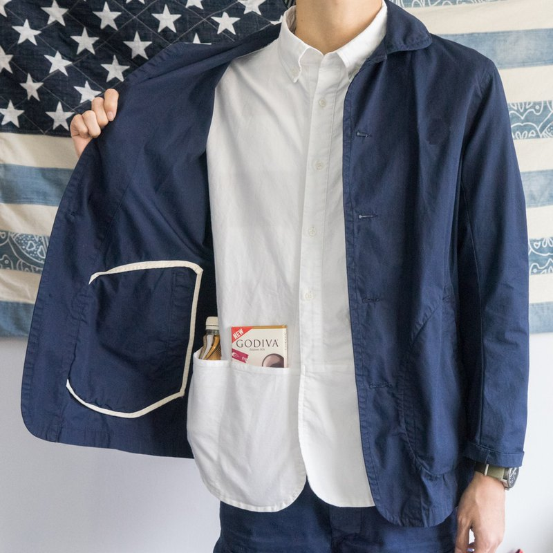 Japanese small round neck jacket, men's French work clothes, Navy Chore Jacket