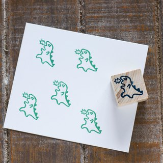 Hand engraved rubber stamp angry little dinosaur seal stationery