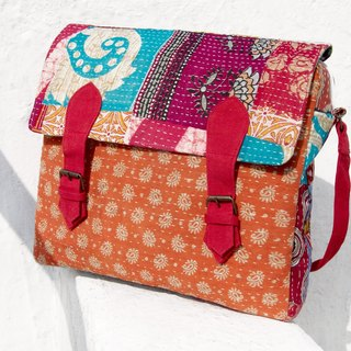 Valentine's Day gift ideas Sew yarn Li Bu side backpack / shoulder bag embroidery / embroidery messenger bag / hand-stitched saris line messenger bag / backpack stitching yarn Li Bu - desert fabric flowers + national totem (limit one)