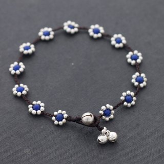 Blue Jade Silver Anklets Flower Beads Anklets Bracelets Stone Braided