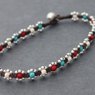 Hippy Macrame Jewelry In Bold Color Stone Silver Beaded Bracelets