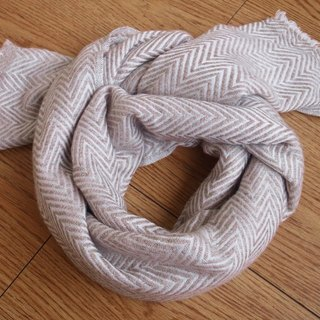 【Grooving the beats】Cashmere Stripes Shawl / Scarf / Stole Handmade from Nepal(thick_v_Light brown)