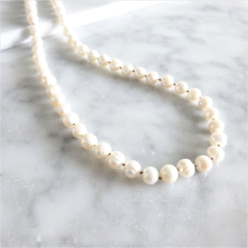14kgf * peach shape baroque pearl all knot necklace / bracelet