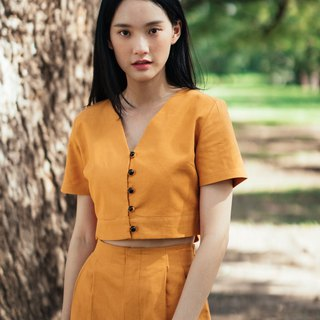 (SIZE M) MUSTARD YELLOW COTTON LINEN BUTTON FRONT CROP TOP