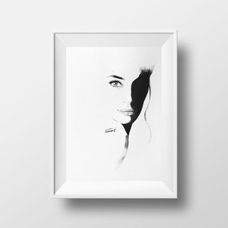 Actress Jolie watercolor / Nordic wind pencil drawing watercolor / gift furniture