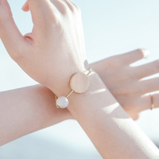 White Marble Pattern Concrete Bubble With Wood Bracelet