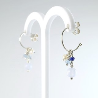 [ColorDay] Blue Lace Agate / Lapis / pearl hoop earrings - sterling silver C <Natural Blue Lace Agate / Lapis Lazuli / Pearl Silver Earring>