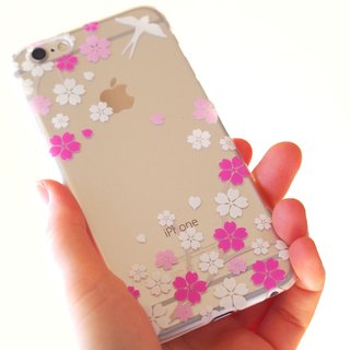 Clear android phone case - Japanese Cherry Blossoms and Swallow -