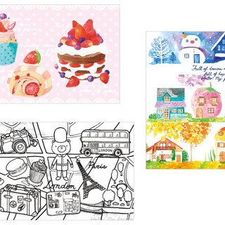 Strawberry Cake postcard illustration Travel Europe Seasons cabin kits (3 a)