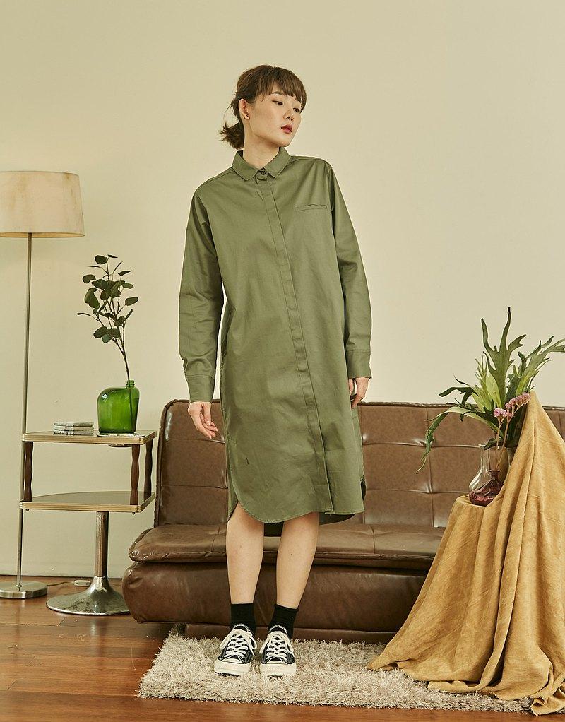 長袖棉質襯衫-橄欖綠色