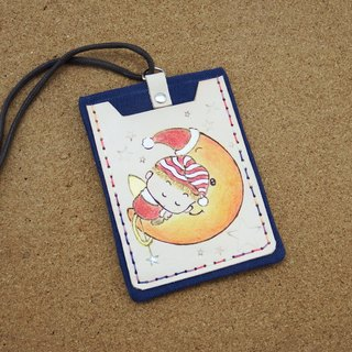 Double leather card holder ID set - Moon Angel
