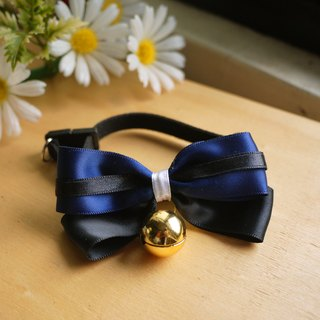 Classic blue ink. Light texture bells bow collar ︱ safe hands to do cats and dogs pet collar / ribbon / hair accessories cherry pudding Cherry Pudding ♥ ♥