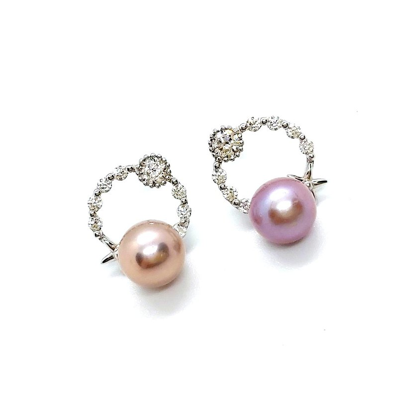 Star Diamond Circle AB Freshwater Pearl Sterling Silver Earrings