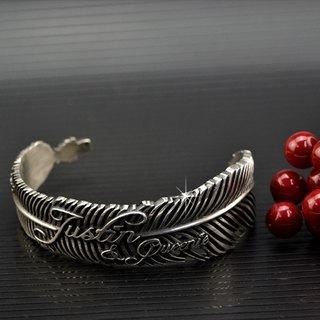 Customized .925 sterling silver bracelet jewelry feather FEB00001-