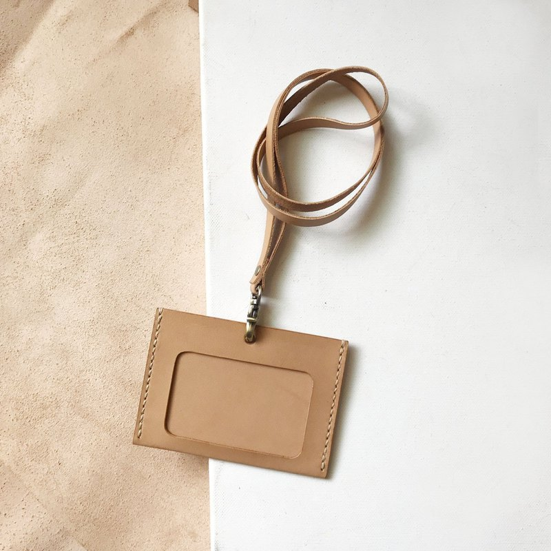 Identification card holder + neck belt _ horizontal _ double card layer _ light brown