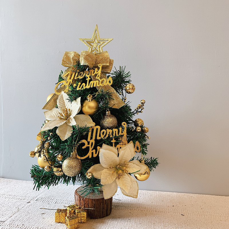 Golden Christmas-Christmas tree with decorations and string lights