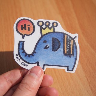 Waterproof stickers - Elephant (blue)
