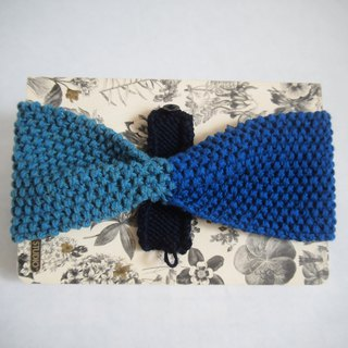 Two-style hand knit blue headband