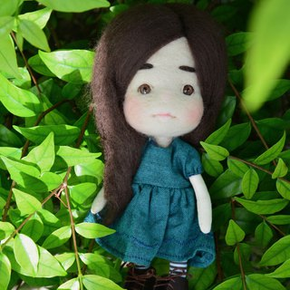 Cute needle felt long hair doll