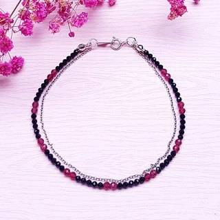 <July Birthstone - Red Corundum Corundum> Red Corundum x Black Spinel 925 Sterling Silver Double Bracelet