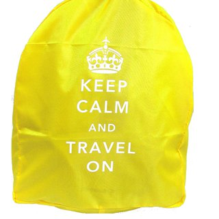 Keep Calm & Travel On Neon Backpack Cover - Yellow