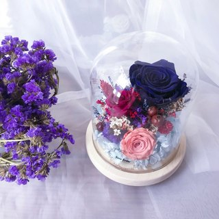 Blue Red Round Night Light - Eternal Flower Night Light / Small Bridal / Bridesmaid / FLORA FLOWER / Birthday Present